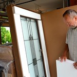 Fr. Bryon takes a look at the new window for the novitiate