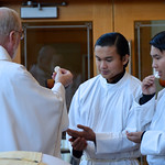 Fr. Ed brings communion to the novices